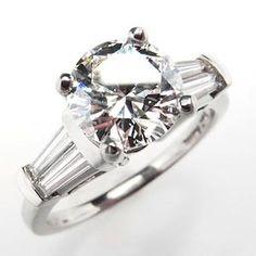 1.6 CARAT DIAMOND ENGAGEMENT RING W/ BAGUETTE ACCENTS PLATINUM