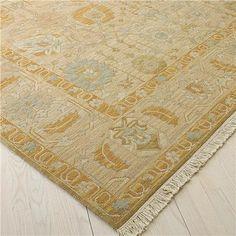 Gold, cloudy blue, and taupe Soumak rug, Shades of Light