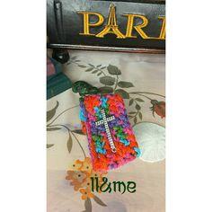 Rainbow crocheted rhinestone cross cuff by LouLeeAndMe on Etsy