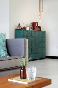 An Industrial and Eclectic Look for a HDB Flat by Green And Lush Renovation Budget, Green Office, Office Cabinets, Industrial Chic, Lush, Mid-century Modern, House Design, Interior Design, Storage