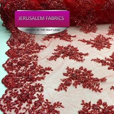 Bridal wedding Red Embroider Flawers And Hand Beaded On A Mesh Lace. 80$/yard