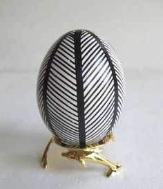 Easter Egg Black and White,  Ukrainian Easter egg, batik painted, via etsy