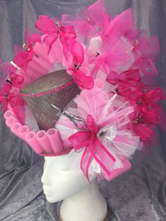 Headpiece created by Time for Bubbles Millinery for Art in Public Places, Designed for local hair salon's window display. Fascinator, Headpiece, Spring Racing, Special Occasion, Christmas Wreaths, Awards, Bubbles, Public, Window