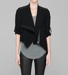 helmut lang. vapor jacket. assymetric, structured leather & silk.
