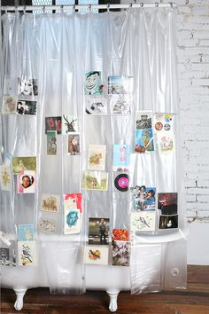 not so much as a shower curtain ... but maybe a fun idea for organizing kids and crafts.  also think it could be a fun idea for a party display ... giving it more thought
