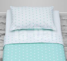 100% Cotton Cot Bed duvet cover girls and boys bedding mint stars