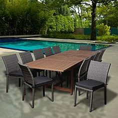 1900 Sears   Amazonia Maple 13 Piece Eucalyptus/Synthetic Wicker Extendable Rectangular Patio Dining Set with Grey Cushions