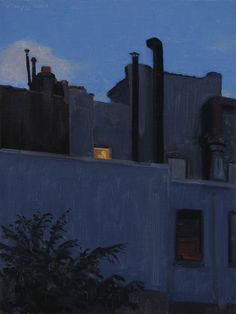 Stephen Magsig, Midtown Nocturne, oil on linen panel, 12x9""