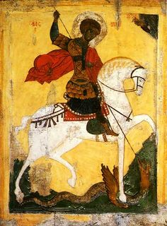St George and the Dragon. Hermitage Amsterdam, Isaiah 25, Saint George And The Dragon, Russian Icons, Russian Painting, Patron Saints, Orthodox Icons, Dark Ages, Sacred Art