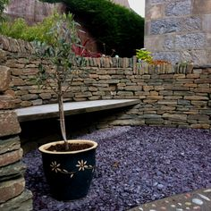 Stunning Natural stone patio and walling inset bench