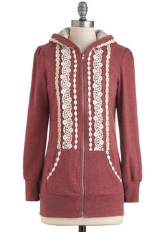 Ever So Soften Hoodie in Berry - Red, Tan / Cream, Lace, Hoodie, Jersey, Mid-length, Casual, 1, Travel, Winter, Top Rated