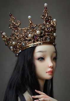 Commission crown | Crown - Cast bronze, garnets, freshwater pearls, labradorites, glass pearls, Swarovski crystals  <i>Resin Enchanted Doll by Marina Bychkova Crown design by Belle Nolia</i>