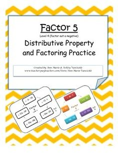 Description:Factor 5 is a quick, fun way to practice pulling the greatest common factor (GCF) from a sum of two numbers. The goal is to leave the answer as the product of the GCF and a sum of two numbers and variables. This set focuses on factoring out a negative number.