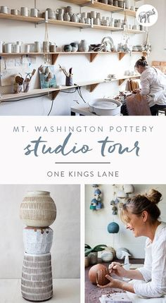 We pop by the Los Angeles studio of Mt Washington Pottery to talk shop with maker Beth Katz, watch her in action, and drool over her latest pieces. Clay Studio, Ceramic Studio, Ceramic Clay, Ceramic Pottery, Slab Pottery, Ceramic Bowls, Art Shed, Pottery Lessons, Pottery Houses