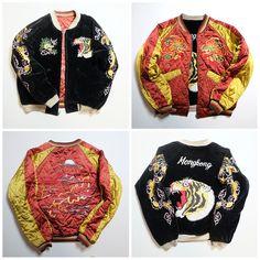 Rare Vintage Japanese HONGKONG Tiger TORA Dragon Souvenir Sukajan Jacket - Japan Lover Me Store