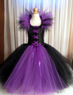 Kids Girls Maleficent Dress Costume Tutu with Horned Headband for Halloween, Photo Shoots or Pageants