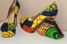Oh ankara wax textiled pump how I want thee in my closet but that 5 inch HEEL??!! ...is NOT calling my name!! Lmbo....so yummy
