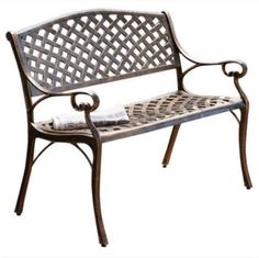 Cast Aluminum Bench Two-Seater Outdoor Patio Furniture Antique Copper Finish New