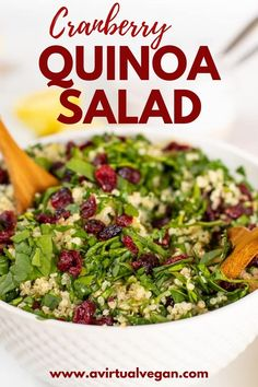 This Cranberry Quinoa Salad is full of fresh flavours. Featuring fresh spinach, sweet dried cranberries and a zippy lemon dressing, it is able to stand alone as a protein packed, healthy vegan meal, or a side. It's easy to make ahead of time and is naturally vegan and gluten free. Vegan Recipes Easy, Whole Food Recipes, Vegetarian Recipes, Vegetarian Lunch, Vegetarian Thanksgiving, Spinach Recipes, Salad Recipes, Cranberry Quinoa Salad, Quinoa Spinach