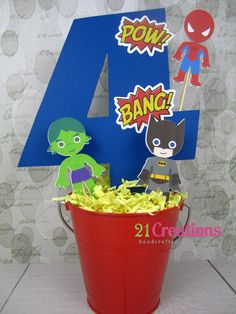 Little Superheros Centerpiece - choose 3 characters. $16.00, via Etsy.