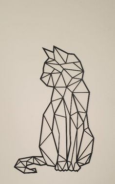 Cat steel, interior decoration, industrial style, decoration on the wall Geometric Shapes Art, Geometric Drawing, Geometric Cat Tattoo, Geometric Animal, Geometric Embroidery, Tape Art, Art Drawings Sketches, Easy Drawings, Chat Origami