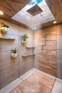 65 Enjoying Small Bathroom Shower Remodel Ideas With Sliding Barn Door Wood Bathroom, Bathroom Colors, Bathroom Flooring, Bathroom Interior, Modern Bathroom, Bathroom Lighting, Bathroom Ideas, Shower Ideas, Bathroom Small