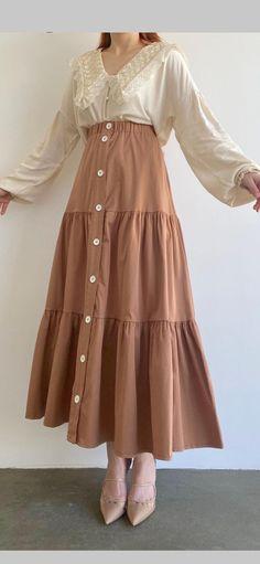 Modesty Fashion, Abaya Fashion, Skirt Fashion, Fashion Outfits, Cute Modest Outfits, Curvy Outfits, Cute Dresses, Korean Girl Fashion, Young Fashion