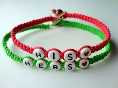 His Hers Couples Bracelet Set, Hot Pink and Neon Green Bamboo Cord Bracelets