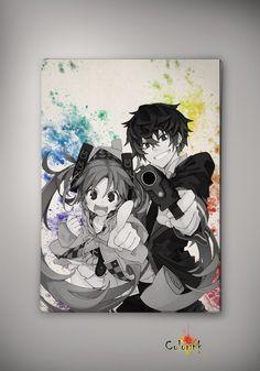 Black Bullet Anime Manga Watercolor Print Poster Rentarō Satomi Enju Aihara Kisara Tendō