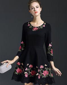 #AdoreWe #VIPme Skater Dresses - Qeexi Border Floral Embroidery Black Skater Mini Dress - AdoreWe.com