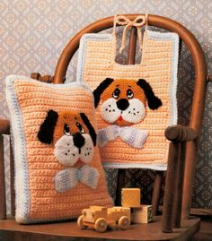 CROCHET PATTERN Cute Baby Puppy Bib & Pillow