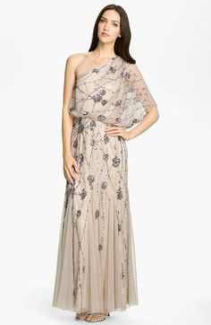 Pretty desing and color- but SHORT. Adrianna Papell Beaded One Shoulder Gown available at #Nordstrom