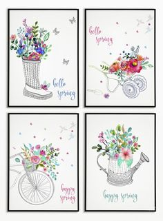Decorating for the season is a snap with our FREE watercolor spring printables! As always, these spring watercolors come in several sizes and with different background color options. Wal Art, Engineer Prints, Hello Spring, Tampons, Do It Yourself Home, Copics, Cool Walls, Watercolor Print, Printable Wall Art