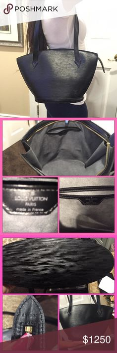 """Louis Vuitton Saint Jacques Epi Leather Bag Authentic LV St Jacques Epi Leather Shoulder Bag in black. Grey alcantara lining features inside pocket. Single zipper closure runs smooth. Date code shown in photos. Bag measures 15""""x9.5""""x4"""" with 11"""" double strap drop. Made in France. Mint condition inside & out! Purchased at LV store Manhasset, NY 1999. Used maybe 3x. No signs of wear. Bag is discontinued & hard to find in this Like New condition. Matching wallet for sale on my other Posh…"""