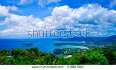 High view from Phuket View Point for tourist travel in holiday for see Karon Beach, Kata Beach, Patong Beach, Taken from Karon Viewpoint. Phuket Thailand