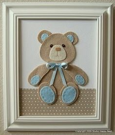 Teddy with felt Baby Crafts, Felt Crafts, Fabric Crafts, Diy And Crafts, Craft Projects, Sewing Projects, Felt Pictures, Baby Boy Rooms, Baby Kind