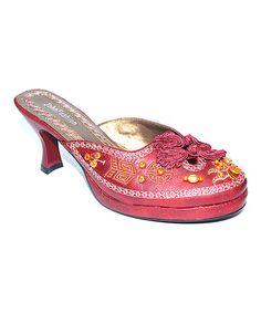 Another great find on #zulily! Red Embroidered Kitten Heel #zulilyfinds