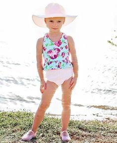 0b0bfbbff5 Botanical Beach Long Sleeve Zipper Rash Guard Bikini | Little girl ...