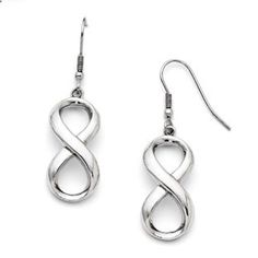 Infinity Earrings - Stainless Steel Infinity Earrings Gemologica.com offers a unique, simple selection of #handmade #fashion and #fine #jewelry for #men, #women and #children to make a statement. We offer #earrings, #bracelets, #necklaces, #pendants, #rings and #accessories with #gemstones, #diamonds and #birthstones available in Sterling #Silver, 10K, 14K and 18K #yellow, #rose, #white #gold, #titanium and silver #metal. Shop Gemologica jewellery now for cool cute design ideas
