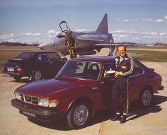 Vintage SAAB 99 Turbo With SAAB Fighter Jet Photo