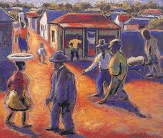"""Street Scene,"" an oil on canvas by the realist pioneer Gerard Sekoto Pretoria, History Museum, Art Museum, Gerard Sekoto, South Africa Art, African Museum, Famous Artwork, South African Artists, African Diaspora"