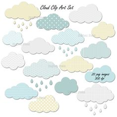 Cloud clip art set No. 2 - 24 high quality (300 dpi) PNG printable digital elements perfect for scrapbooking, card making, invitations, graphic design etc. All elements are on a transparent background so you can use them as graphics in most programs. Personal and small commercial use for your crafting and creative projects. Watermark and shadow will not appear on your images. Please note that colors may slightly vary due to your monitor settings.  This is a digital file. No physical product…