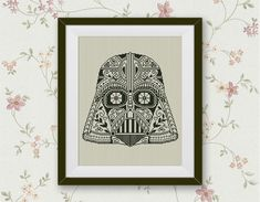 BOGO FREE! Darth Vader Cross Stitch Pattern, Star Wars Cross Stitch Pattern Darth Vader Sugar Skull Needlework Instant PDF Download #002-16 by StitchLine on Etsy