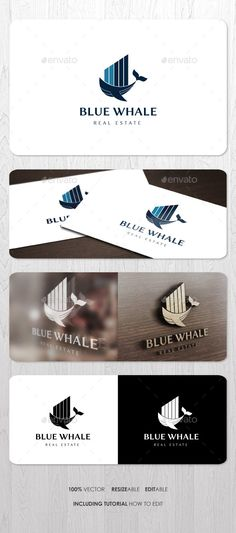 Blue Whale Real Estate  Logo Design Template Vector #logotype Download it here: http://graphicriver.net/item/blue-whale-real-estate-logo/13014442?s_rank=494?ref=nesto