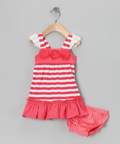 Take a look at this Coral Stripe Dress - Infant, Toddler & Girls by Samara on #zulily today!