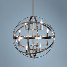 Add subtle shimmer and shine to your contemporary decor with this antique nickel 8-light pendant.
