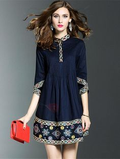 5f9ed4fe4 TideBuy - TideBuy Floral Imprint Half Sleeve Short Day Dress - AdoreWe.com