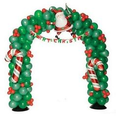I love this balloon arch. What a fun way to decorate for a holiday party! Christmas Arch, Christmas Balloons, Christmas Design, Balloon Decorations, Xmas Decorations, Ballon Arrangement, Ballon Arch, Balloon Flowers, Holiday Crafts