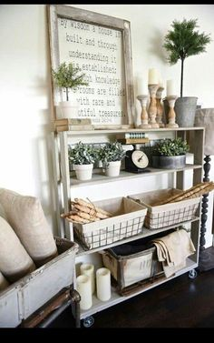 awesome Farmhouse style decor - minus those hideous tree-like things and add some succul...
