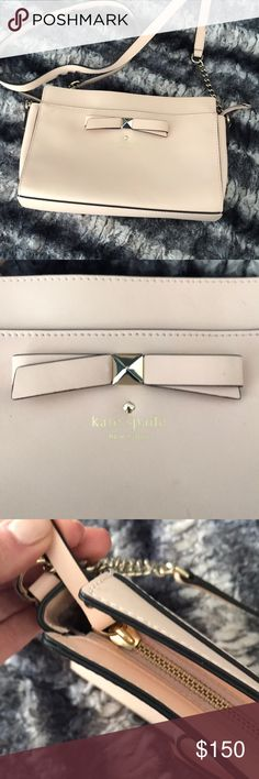 """Kate spade bow front blush cross body leather 10""""L x 3""""W x 6""""H Perfect for spring, only worn twice kate spade Bags Crossbody Bags"""